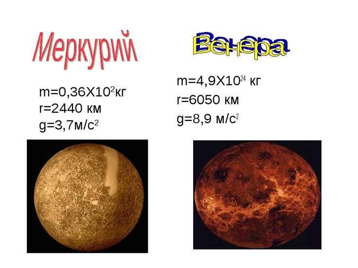 m=4,9X1024 кг r=6050 км g=8,9 м/с2 m=0,36X102кг r=2440 км g=3,7м/с2