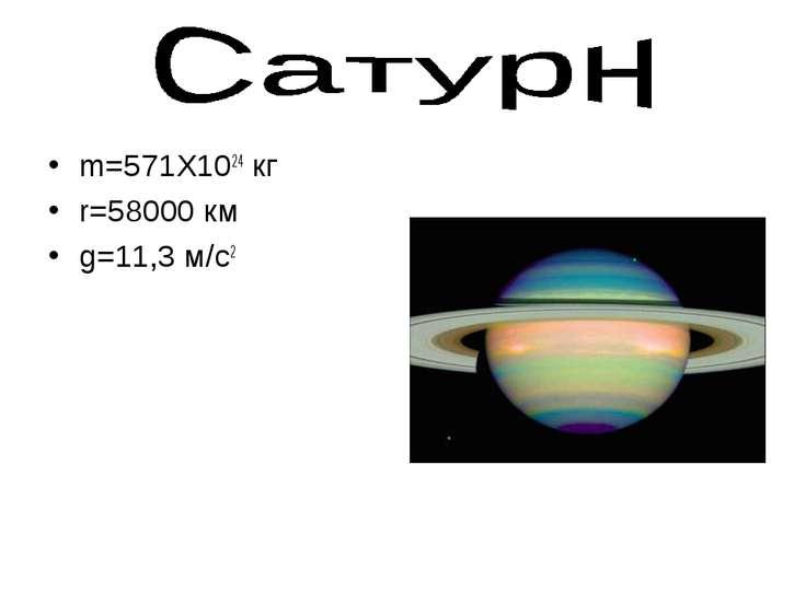 m=571X1024 кг r=58000 км g=11,3 м/с2