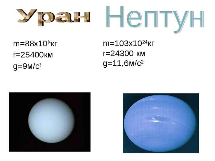 m=88x1024кг r=25400км g=9м/с2 m=103x1024кг r=24300 км g=11,6м/с2