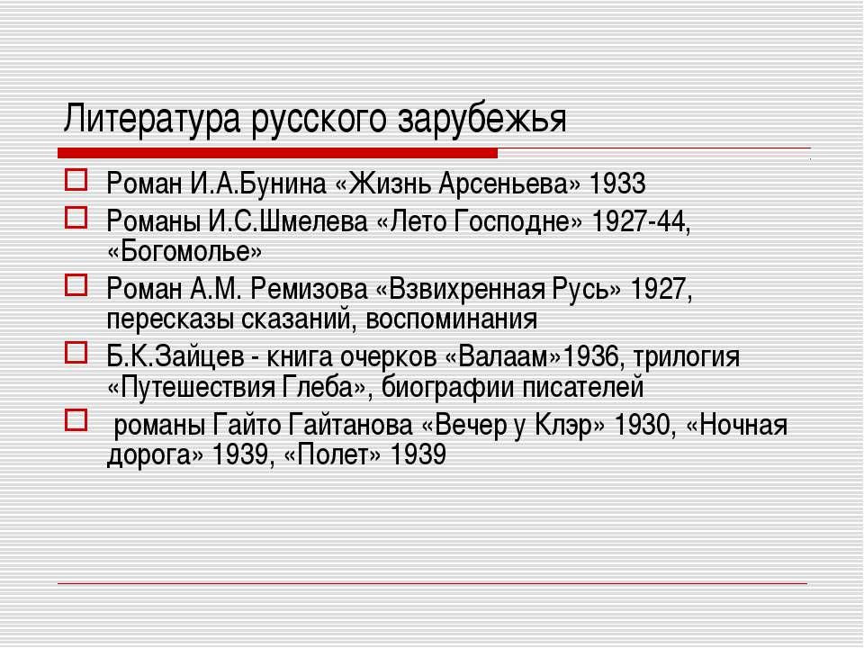 Литература русского зарубежья Роман И.А.Бунина «Жизнь Арсеньева» 1933 Романы ...