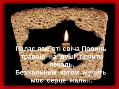 Палає пам`яті свіча Полинь травою на душі гірчить печаль, Безжальним ка...