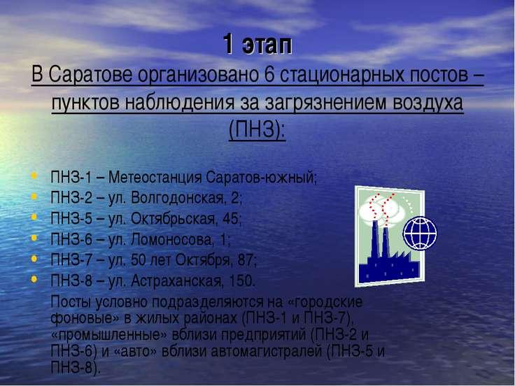 1 этап В Саратове организовано 6 стационарных постов – пунктов наблюдения за ...