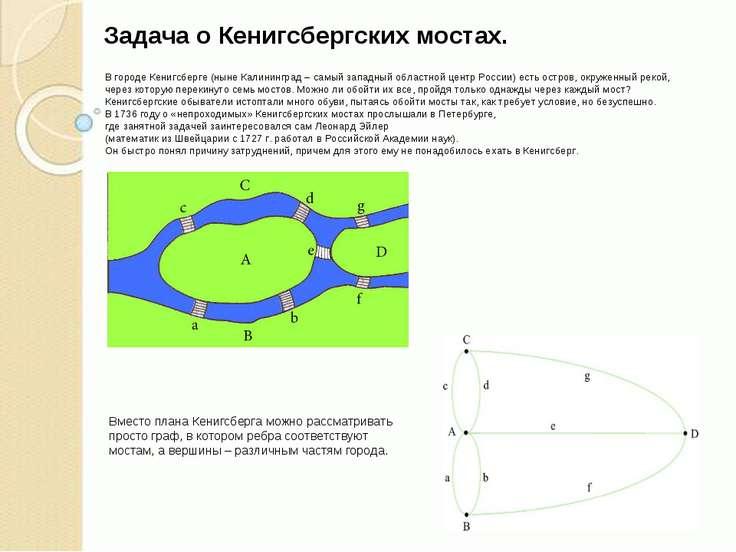 Задача о Кенигсбергских мостах. В городе Кенигсберге (ныне Калининград – самы...