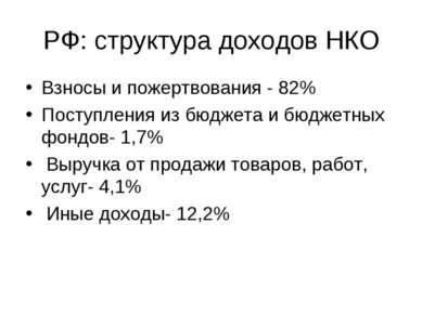 РФ: структура доходов НКО Взносы и пожертвования - 82% Поступления из бюджета...