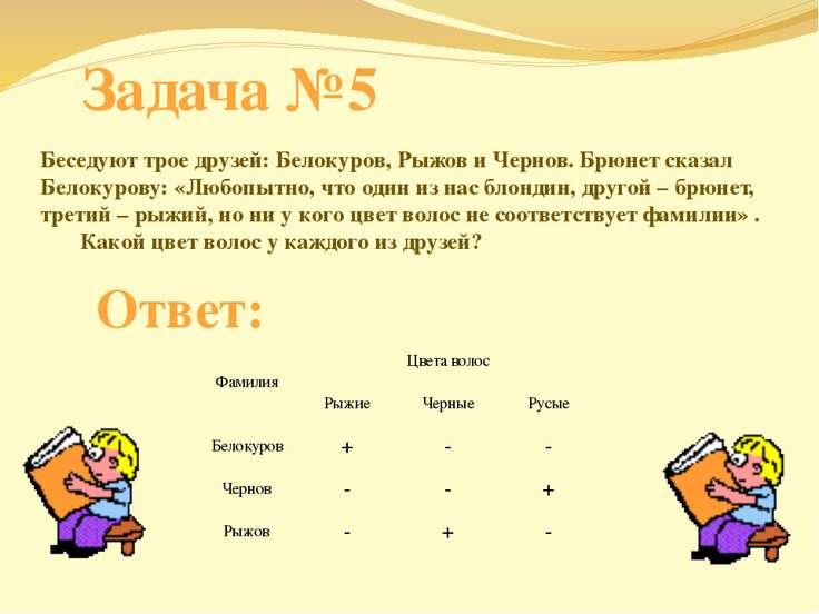 Задача №5 Беседуют трое друзей: Белокуров, Рыжов и Чернов. Брюнет сказал Бело...