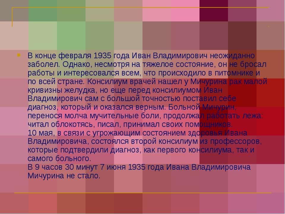 В конце февраля 1935 года Иван Владимирович неожиданно заболел. Однако, несмо...