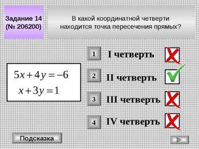 В какой координатной четверти находится точка пересечения прямых? Задание 14 ...
