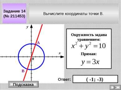 Вычислите координаты точки В. Задание 14 (№ 211453) Окружность задана уравнен...