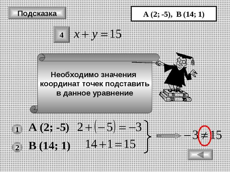 Подсказка Необходимо значения координат точек подставить в данное уравнение А...