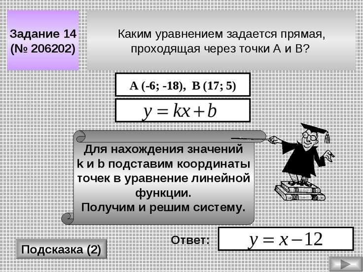 Каким уравнением задается прямая, проходящая через точки A и B? Задание 14 (№...