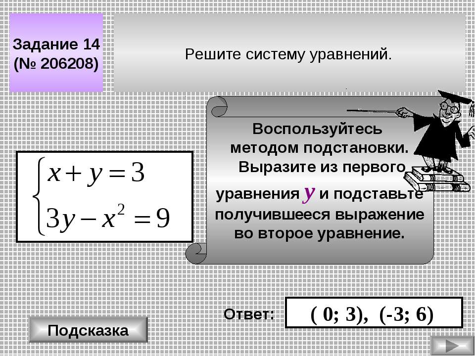 Решите систему уравнений. Задание 14 (№ 206208) Подсказка Воспользуйтесь мето...