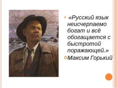 «Русский язык неисчерпаемо богат и всё обогащается с быстротой поражающей.» М...