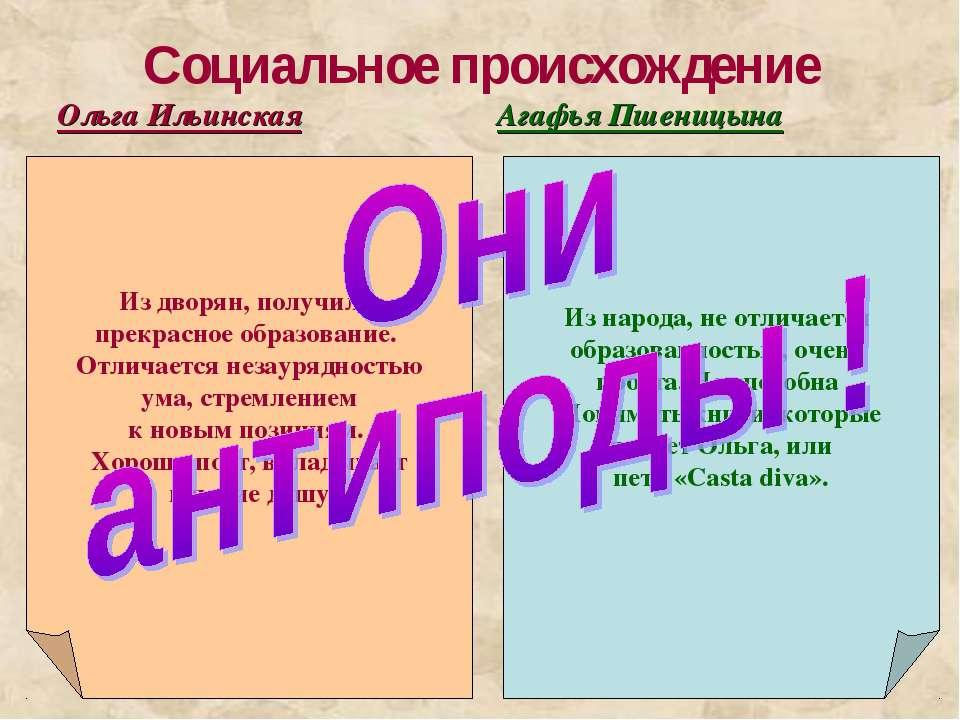 Социальное происхождение Ольга Ильинская Агафья Пшеницына Из народа, не отлич...
