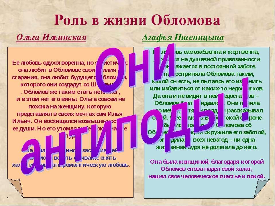 Роль в жизни Обломова Ольга Ильинская Агафья Пшеницына Ее любовь одухотворенн...