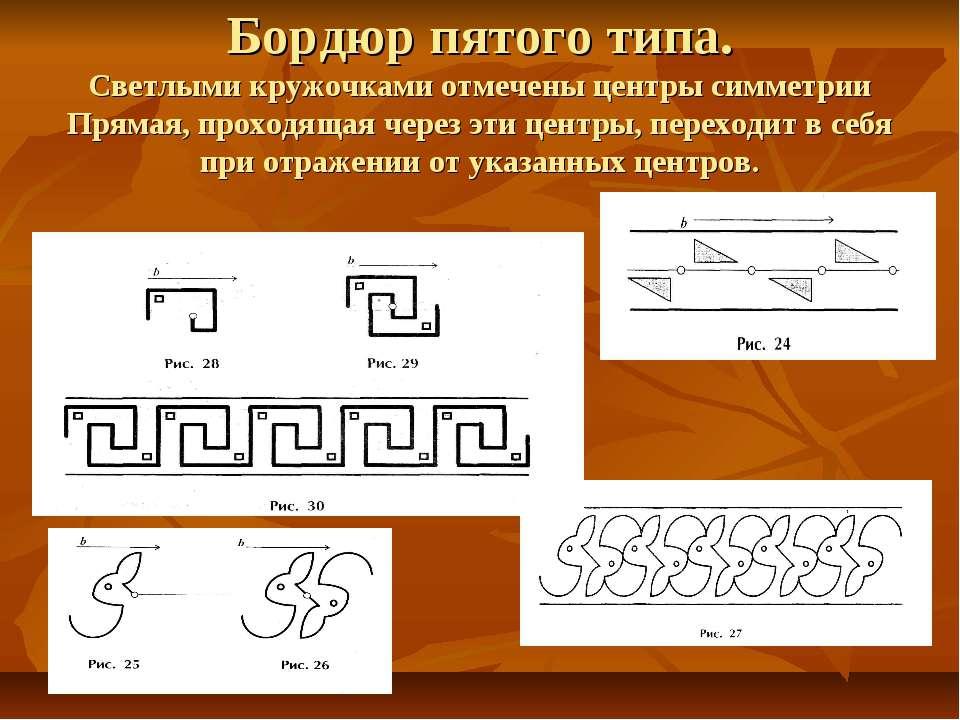 Бордюр пятого типа. Светлыми кружочками отмечены центры симметрии Прямая, про...