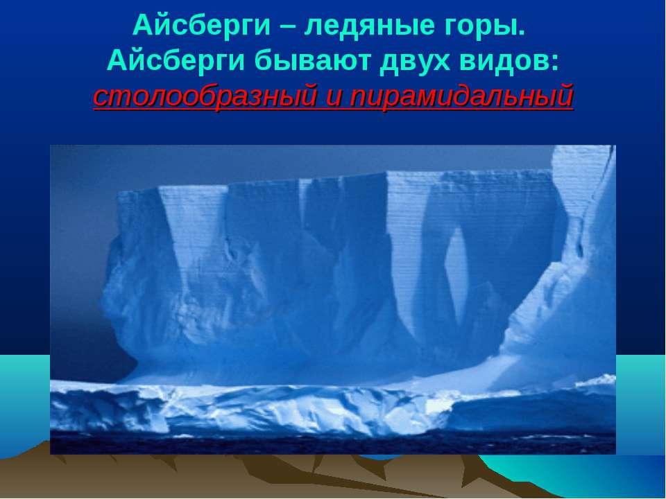 Айсберги – ледяные горы. Айсберги бывают двух видов: столообразный и пирамида...