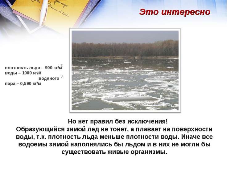 Но нет правил без исключения! Образующийся зимой лед не тонет, а плавает на п...
