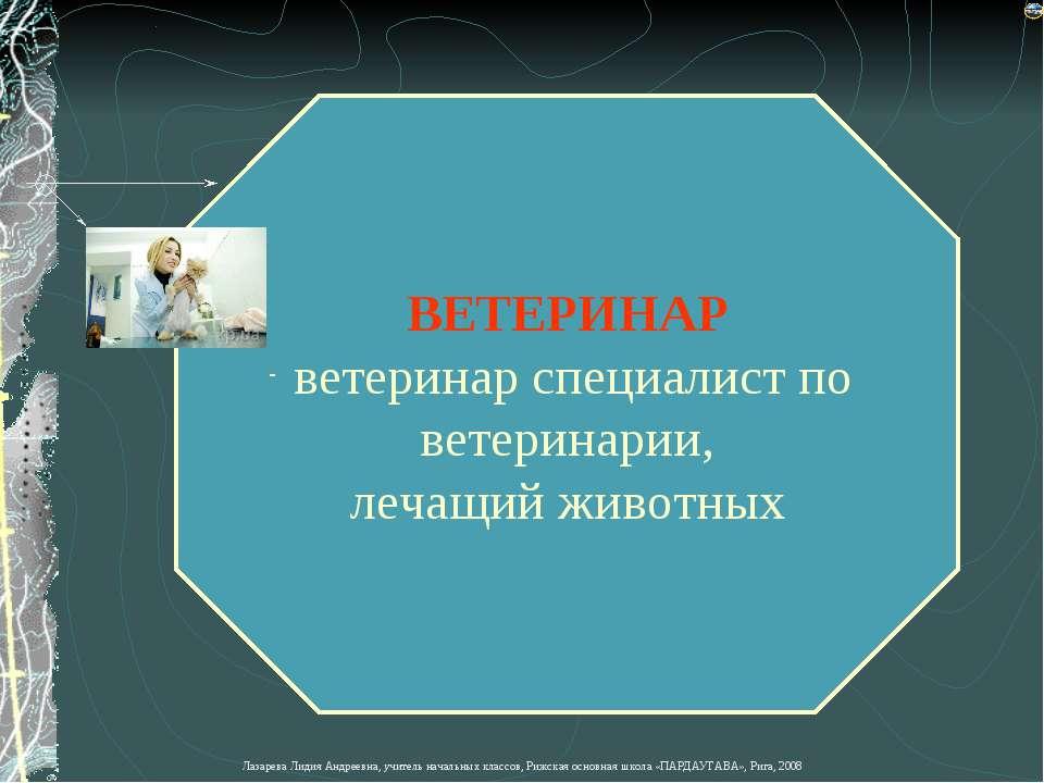 ВЕТЕРИНАР ветеринар специалист по ветеринарии, лечащий животных Лазарева Лиди...