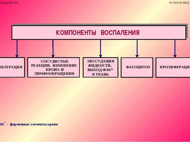 ФЭК * - форменные элементы крови АЛЬТЕРАЦИЯ СОСУДИСТЫЕ РЕАКЦИИ, ИЗМЕНЕНИЕ КРО...