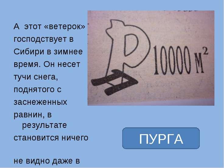 А этот «ветерок» господствует в Сибири в зимнее время. Он несет тучи снега, п...