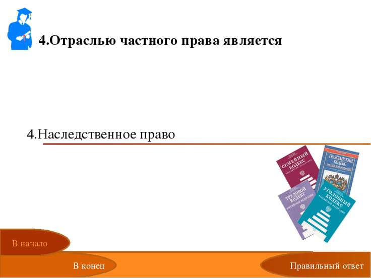 4.Отраслью частного права является Избирательное право Экологическое право Фи...