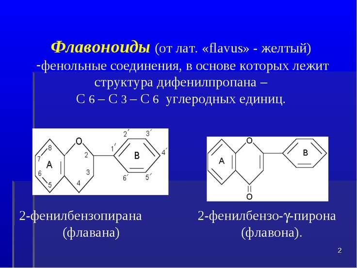 Флавоноиды (от лат. «flavus» - желтый) фенольные соединения, в основе которых...