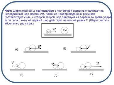 А) В) С) Д) Е) №19: Шарик массой М двигающийся с постоянной скоростью налетае...