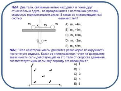 №54: Два тела, связанные нитью находятся в покое друг относительно друга , на...