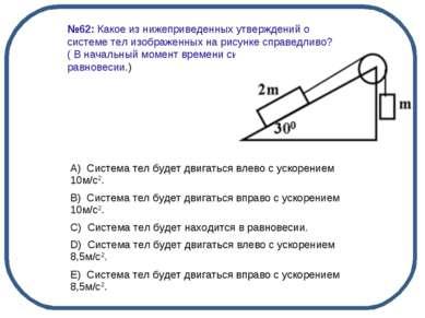 №62: Какое из нижеприведенных утверждений о системе тел изображенных на рисун...