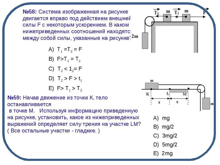 №58: Система изображенная на рисунке двигается вправо под действием внешней с...
