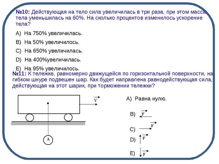 А) Равна нулю. B) C) D) E) №10: Действующая на тело сила увеличилась в тр...
