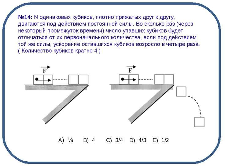 А) ¼ B) 4 C) 3/4 D) 4/3 E) 1/2 №14: N одинаковых кубиков, плотно прижаты...