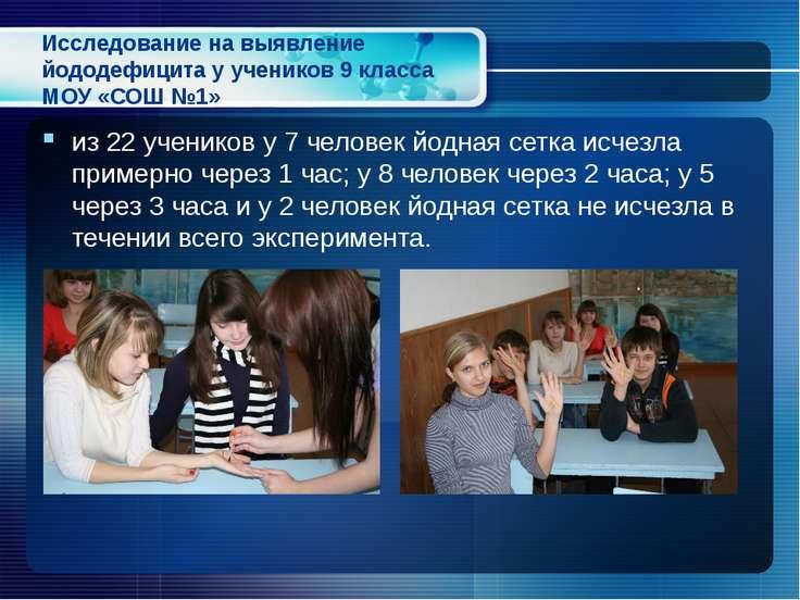 Исследование на выявление йододефицита у учеников 9 класса МОУ «СОШ №1» из 22...