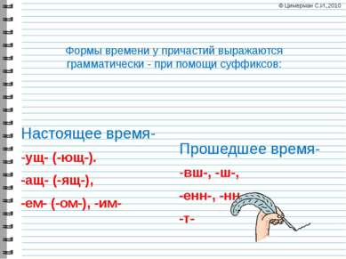 Формы времени у причастий выражаются грамматически - при помощи суффиксов: На...