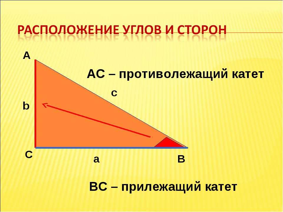 А С В b c a АС – противолежащий катет ВС – прилежащий катет