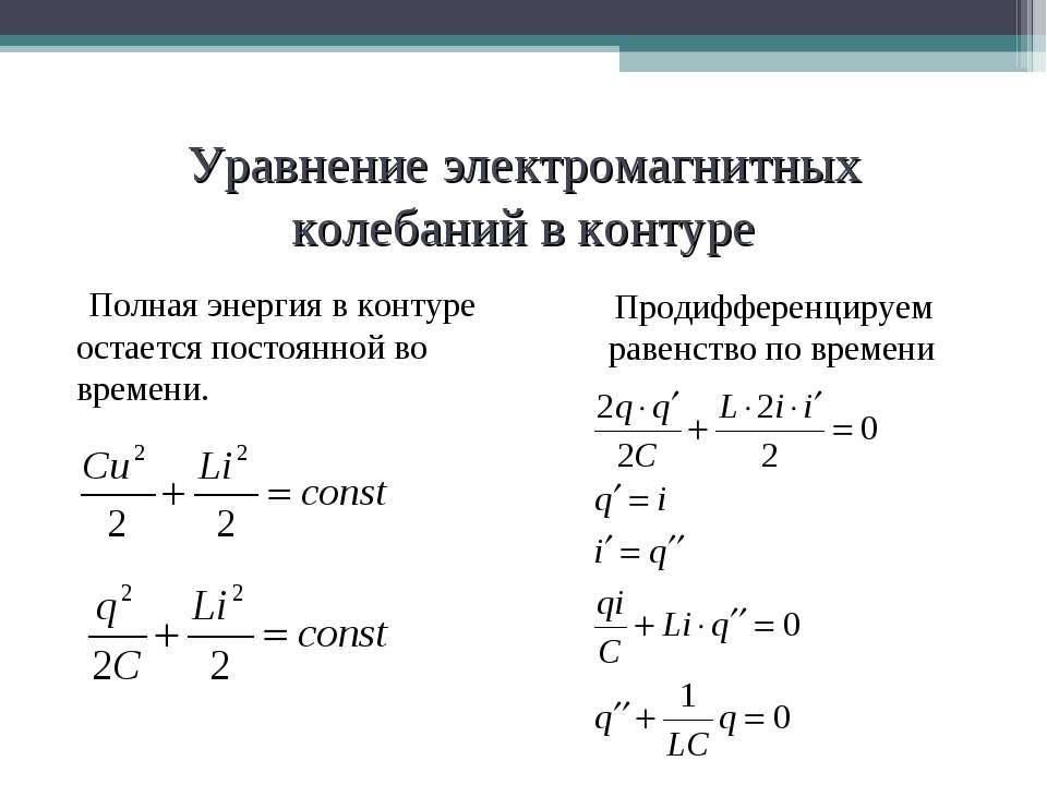 Уравнение электромагнитных колебаний в контуре Полная энергия в контуре остае...