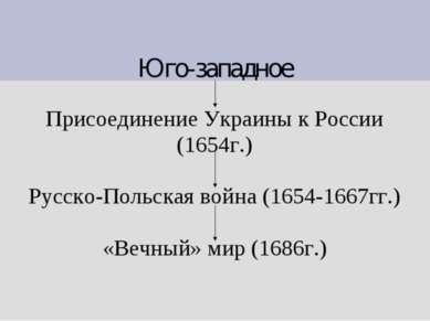 Юго-западное Присоединение Украины к России (1654г.) Русско-Польская война (1...