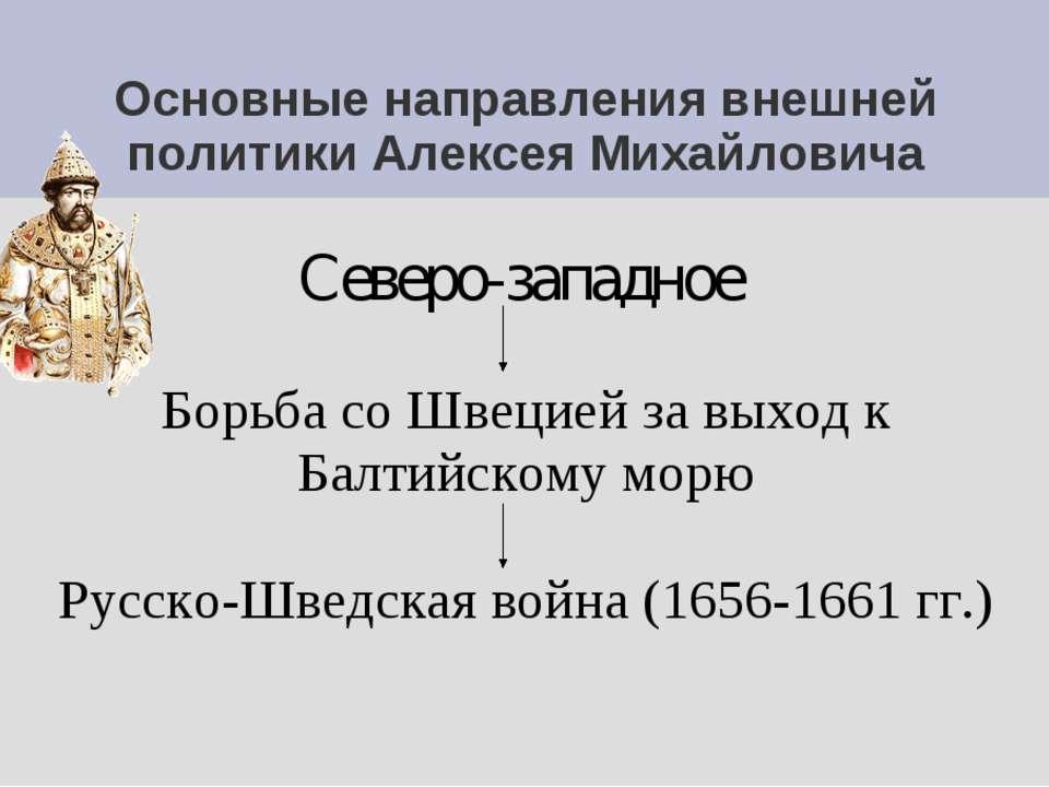 Основные направления внешней политики Алексея Михайловича Северо-западное Бор...