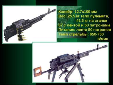 Калибр: 12,7x109 мм Вес: 25.5 кг тело пулемета, 41.5 кг на станке 67 с лентой...