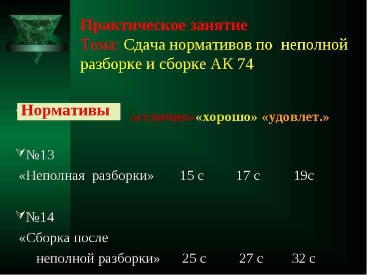 Практическое занятие Тема: Сдача нормативов по неполной разборке и сборке АК ...