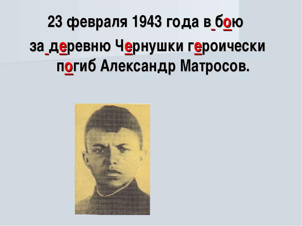 23 февраля 1943 года в бою за деревню Чернушки героически погиб Александр Мат...