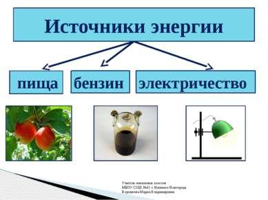 пища Источники энергии бензин электричество Учитель начальных классов МБОУ СО...