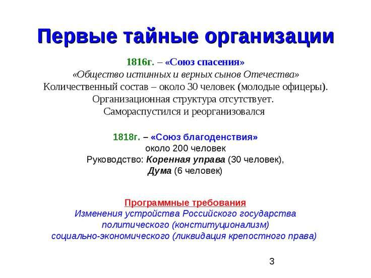 Первые тайные организации 1816г. – «Союз спасения» «Общество истинных и верны...