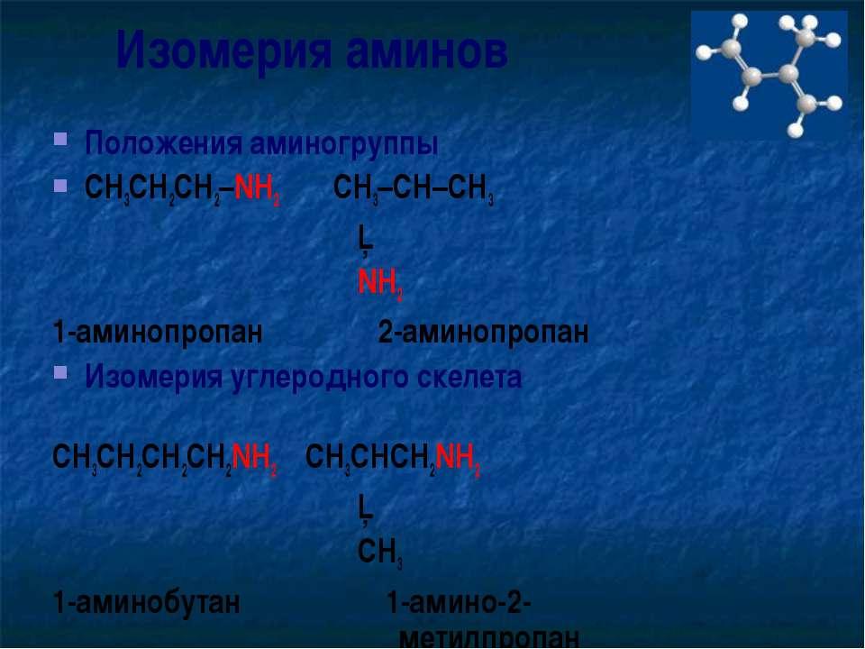 Изомерия аминов Положения аминогруппы CH3CH2CH2–NH2 CH3–CH–CH3 │ NH2 1-аминоп...