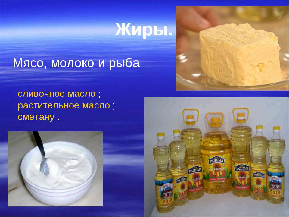 Жиры. Мясо, молоко и рыба сливочное масло ; растительное масло ; сметану .