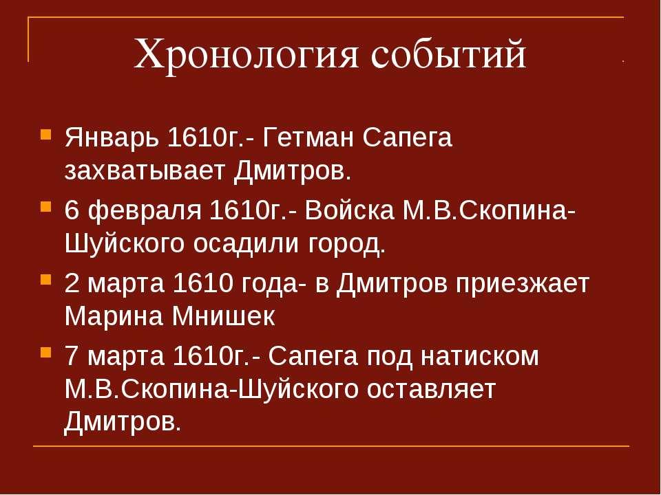 Хронология событий Январь 1610г.- Гетман Сапега захватывает Дмитров. 6 феврал...