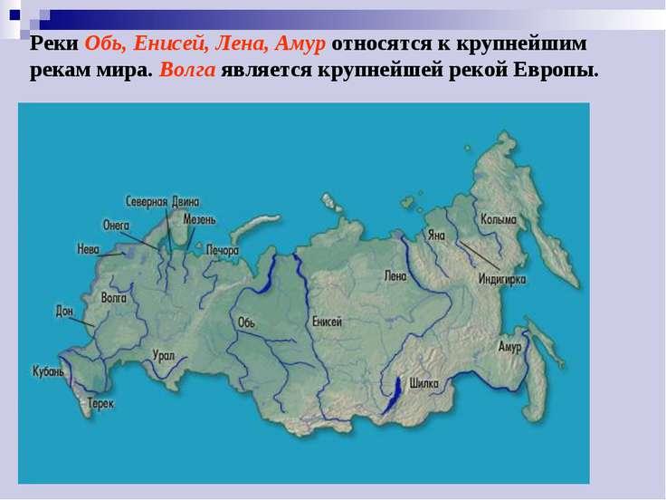 Реки Обь, Енисей, Лена, Амур относятся к крупнейшим рекам мира. Волга являетс...