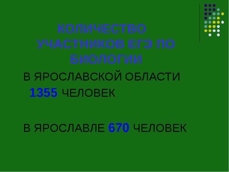 КОЛИЧЕСТВО УЧАСТНИКОВ ЕГЭ ПО БИОЛОГИИ В ЯРОСЛАВСКОЙ ОБЛАСТИ 1355 ЧЕЛОВЕК В ЯР...