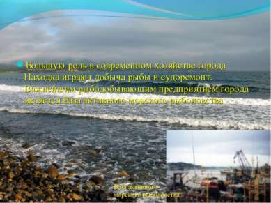 Большую роль в современном хозяйстве города Находка играют добыча рыбы и судо...