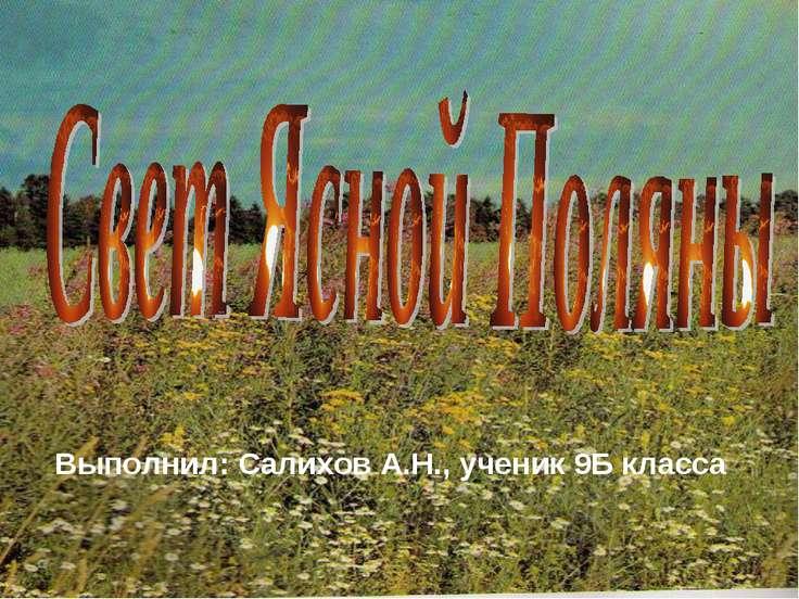 Выполнил: Салихов А.Н., ученик 9Б класса